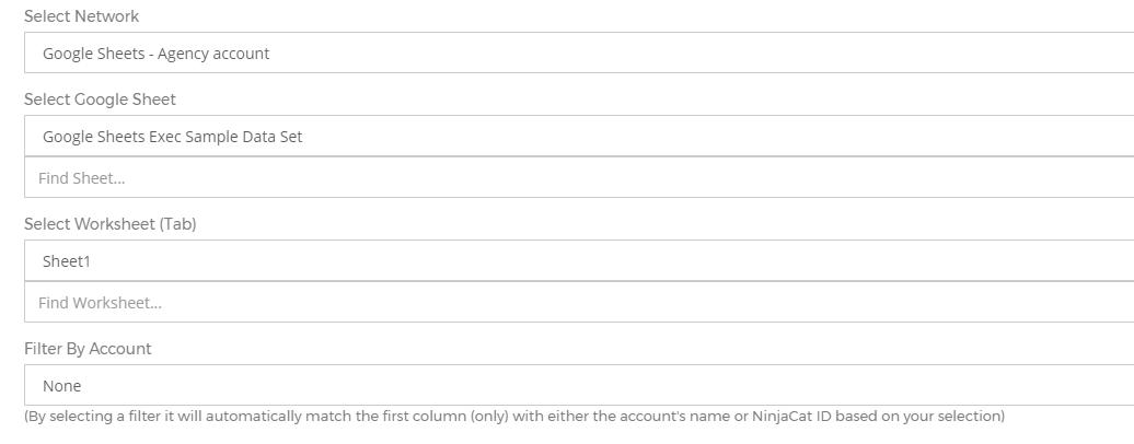 integrating with google sheets ninjacat support